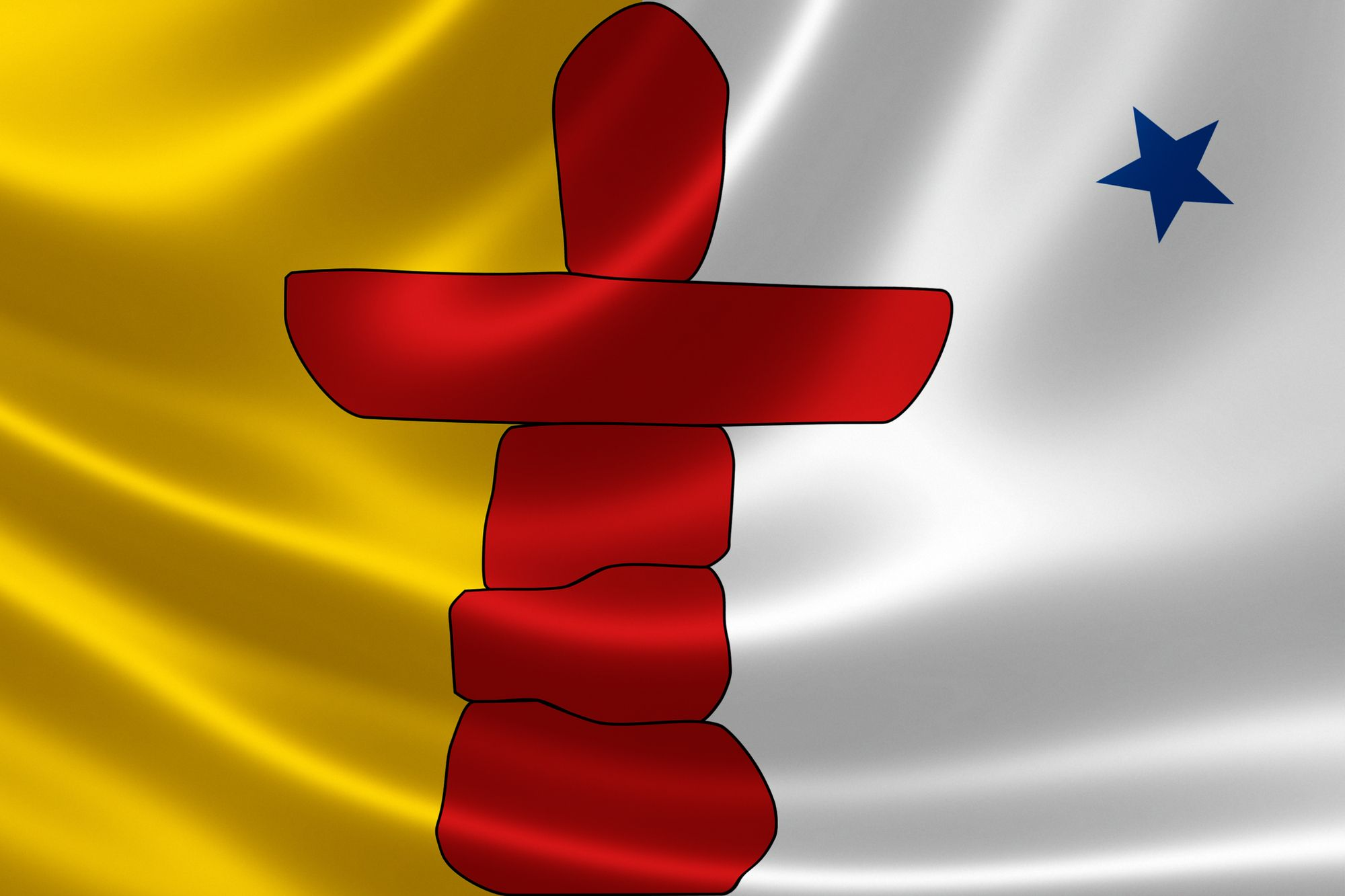 3D rendering of the Canadian territory flag of Nunavut on satin texture.